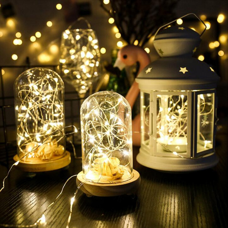 2019 New Year 1M 2M 5M 10M LED String Lights Copper Silver Wire For Christmas Wedding USB Fairy Light Garland Battery Operated