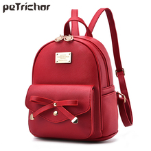 цены Petrichor Brand Designer Bow Small Backpack Ladies PU Leather Female Shoulder Bags Purse Teenage Girls School Bag Backpack Women