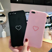 Fashion Soft Silicone Pink Back Cover Case For iPhone 8 7 7/8 Rubber Phone Protector Love Heart Coque Capa(China)