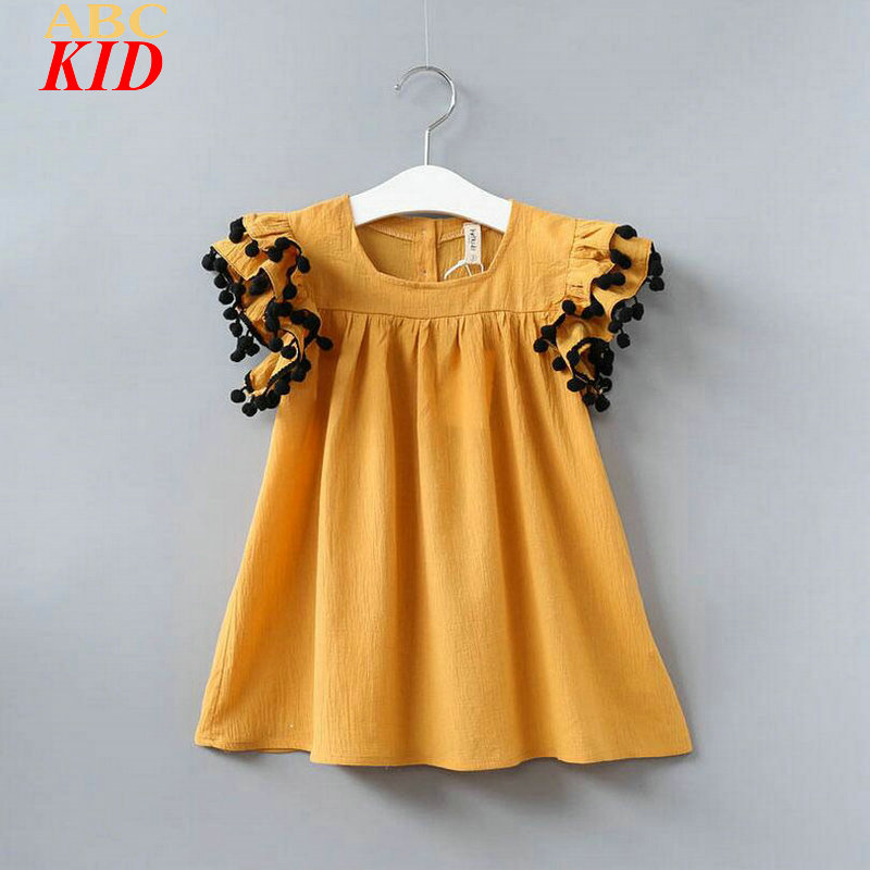 2017 New Summer Dress Baby Girls Vintage Yellow Tassel Dress Ruffle White Jurken Infantil Clothes Boho Dresses Elbise KT025