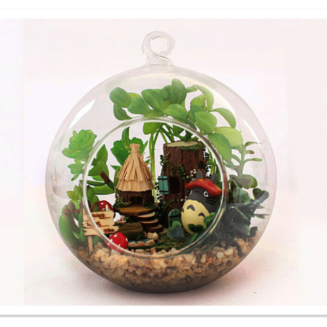 Wooden Assembling DIY Totoro Dollhouse Miniature Houses Toy,Mini Glass  Globe House Toy For Kids