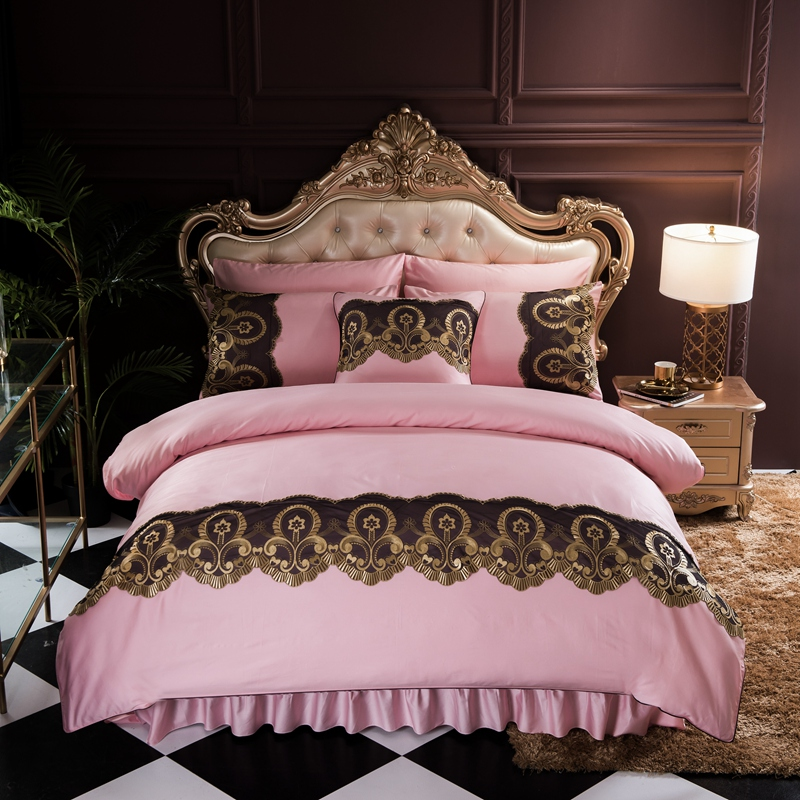 Luxury Pink Green Gray 100% Egyptian Cotton Comfortable Bedding Set Gold Lace Duvet Cover Bed Sheet Bed Skirt Pillowcase 4pcsLuxury Pink Green Gray 100% Egyptian Cotton Comfortable Bedding Set Gold Lace Duvet Cover Bed Sheet Bed Skirt Pillowcase 4pcs
