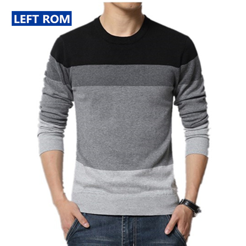 Left ROM 2018 Autumn Winter Mens Fine Cotton Contrast Color Leisure Businss Round Collar Knitting A Sweater Men Casual Sweater