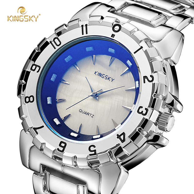 KINGSKY Top Luxury Brand Men Watches Casual Fashion Business Big Case Alloy Design Quartz Watch Male Clock Relogio Masculino women watches women kingsky top luxury brand quartz watch white simple leather casual fashion watches clock relogio feminino