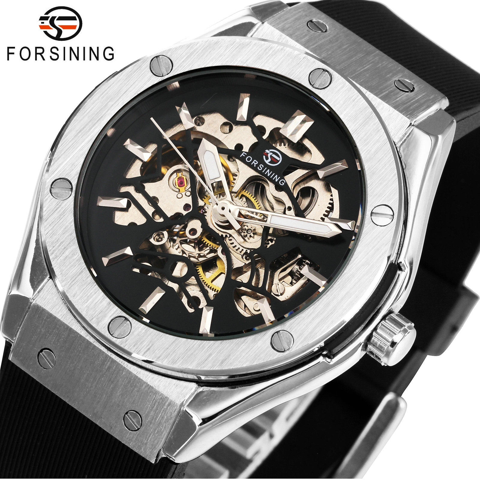 2019 New Mens Military Sport Automatic Mechanical Watches Skeleton Dial Wrist Watches Silicone Band Relogio masculino Gift +BOX2019 New Mens Military Sport Automatic Mechanical Watches Skeleton Dial Wrist Watches Silicone Band Relogio masculino Gift +BOX