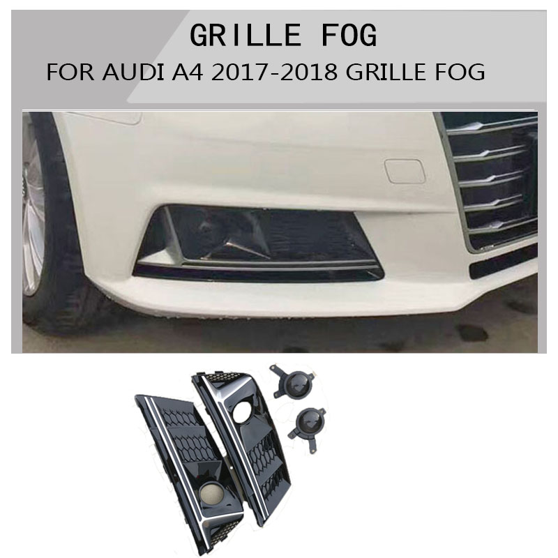 a4 Black Front Fog Grill Grille For Audi A4 Hatchback 2017 2018  CAR STYLINGa4 Black Front Fog Grill Grille For Audi A4 Hatchback 2017 2018  CAR STYLING