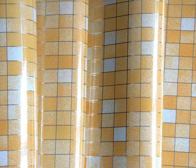 US $5.05 21% OFF|1 Mt/rolle kaffee silber Vinyl Fliesen Mosaik Tapete PVC  Selbstklebende Küche ölfester Wasserdichte Wandaufkleber Steuern bad Dekor  ...
