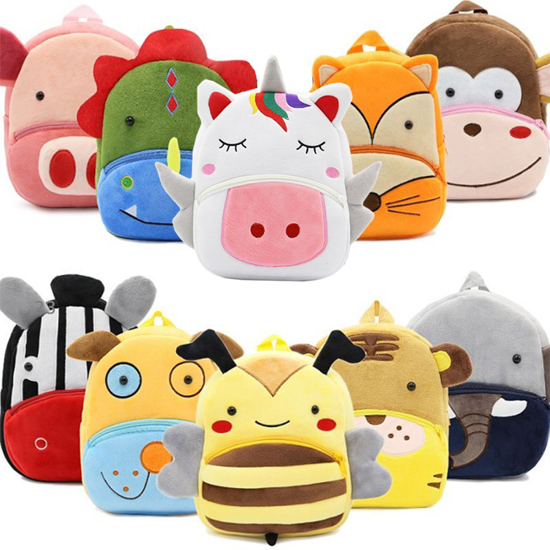 Girls Boys Cute Plush School Backpacks Unicorn Kindergarten 3D Cartoon School Bags Children Animal Toys Bag