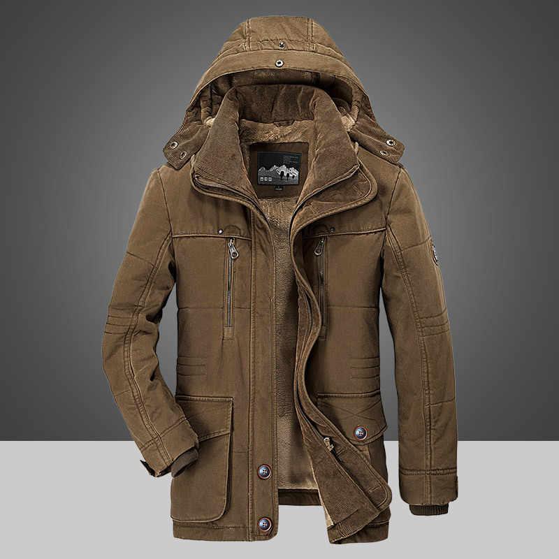 男性のジャケットの冬 4XL 5XL 6XL ブランド暖かい厚みのコート高品質有名な綿が詰めファッションパーカーエレガントなビジネスポケット