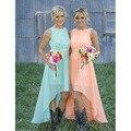 2017 Hi Low Bridesmaid Dress Plus Size with Lace Mint Green Peach de de Shipping