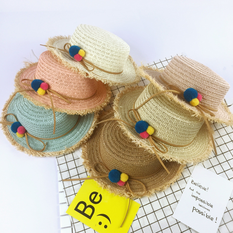 New Fashion Summer Kids Straw Hats Colorful Tassel Balls Children Beach Cap Baby Girl Hat Sun Visor Caps Gorras Casquette Bone