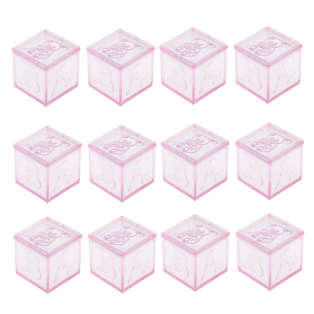 12 Pieces Blocks Design Cute Bear Pattern Candy Box Wedding Baby Shower Party Candy Gift Box