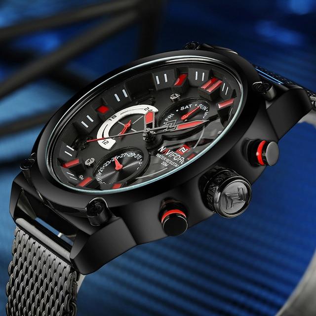 NAVIFORCE Merk Luxe Herenhorloge 24 hour, Datum, Week Display Quartz Horloges Man Alle stalen Sport Horloge Mannen Relogio Masculino