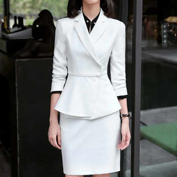 New fashion white skirt suits set women Business slim long sleeve blazer with skirt office ladies plus size Interview work wear
