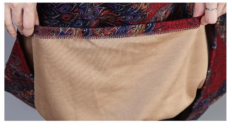 2019 New Women Spring Autumn Dresses Turtleneck Printed Female Long Sleeve Vintage Robe Dress Vestido 81