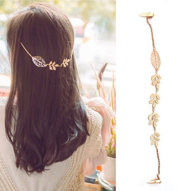 Fashion Ladies Rhinestone Chain Leaf Hair Clip Jewelry
