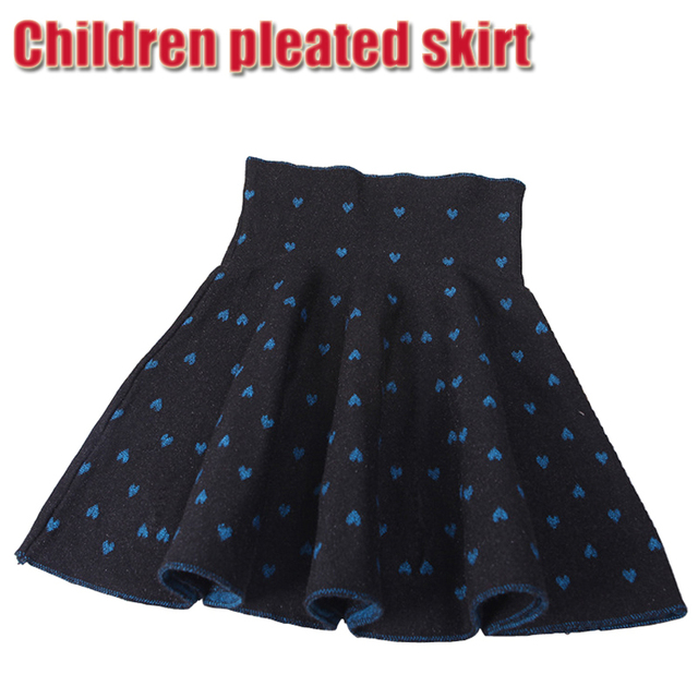 Spring Fall Winter Material Blue Heart Shaped Pattern Pleated Skirt