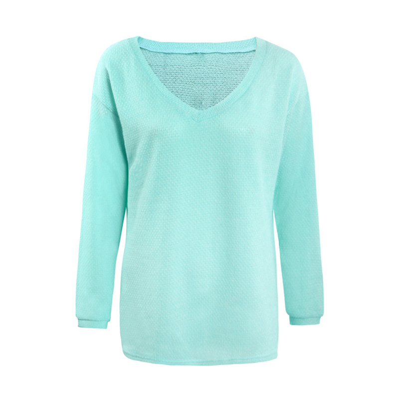 Autumn Female Long Sleeve Casual Sweaters V-Neck Loose Large Size Tops Sweaters S-4XL Plus Size Women Clothing Knitted Sweater