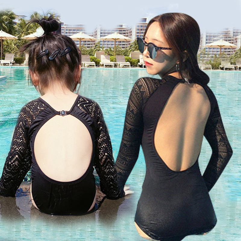 Mother Daughter Beach Dress One Pieces Family Look Black Long Sleeve Sexy Lace Swimwear Swiming Suit