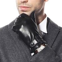 High Quality Men Genuine Leather Gloves Warmth Solid Sheepskin Glove Fashion Wrist Thicken Winter Driving M013NC