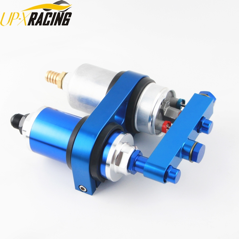 High QUALITY External Fuel Pump 0580 254 044 AN6 male fitting 2 IN 1 fuel filter dual bracket FP044R