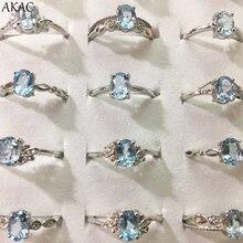 3 anéis/conjunto akac natural azul topázio anel aprox5 * 7mm pedra natural feminino anel ajustável