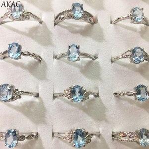 Image 1 - 3 pierścienie/zestaw AKAC naturalny niebieski topaz pierścień approx5 * 7mm naturalny kamień kobiety pierścień regulowany pierścień