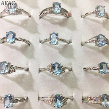 3rings/set AKAC natural blue topaz ring approx5*7mm natural stone women ring adjustable ring
