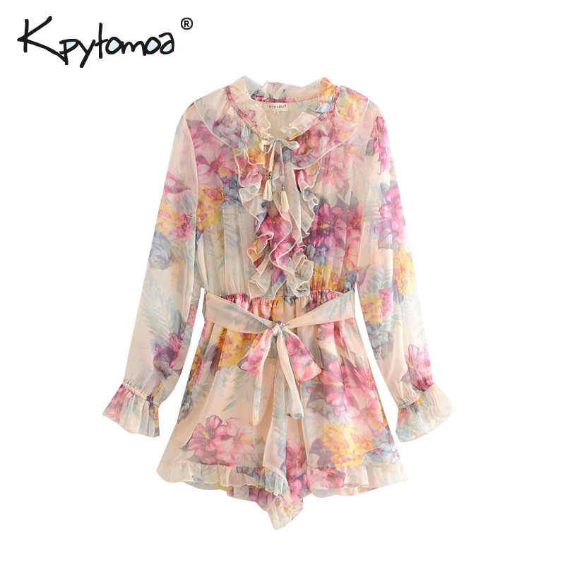 Vintage Chic Ruffles Floral Print Bow Tie Sashes Playsuits Women 2020 Fashion Elastic Waist Beach Jumpsuits Casual Body Femme