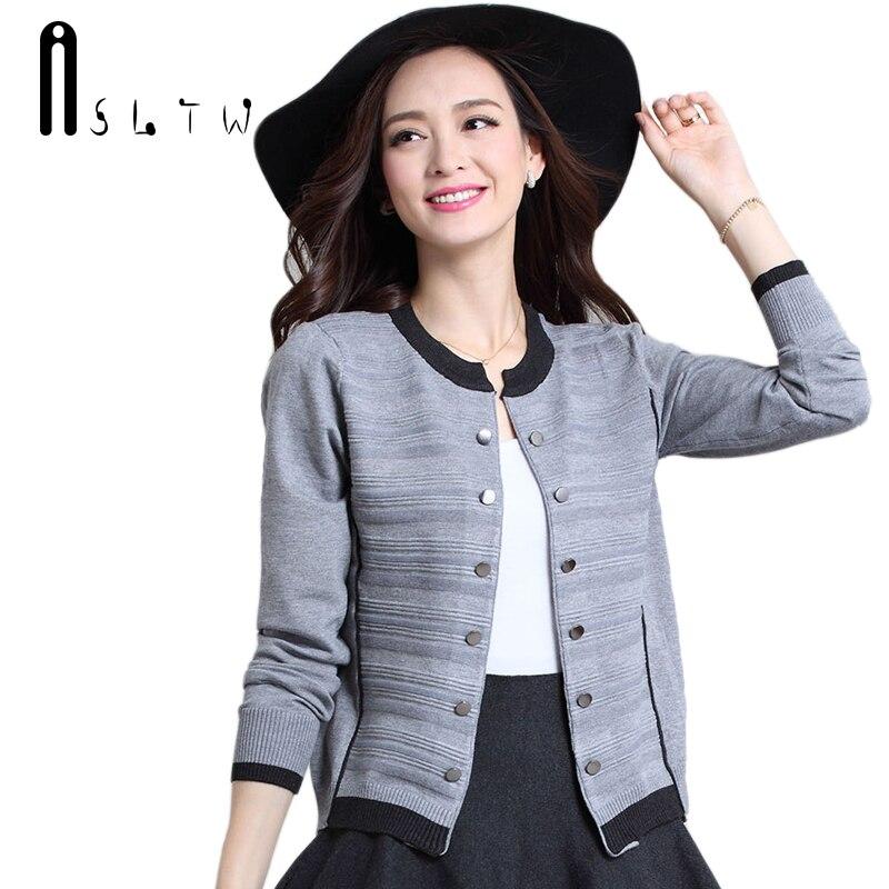 ASLTW Sweaters Woman Autumn Women Long Sleeve Sweater Cardigan Plus Size Short Design Outerwear Knitwear Cardigans