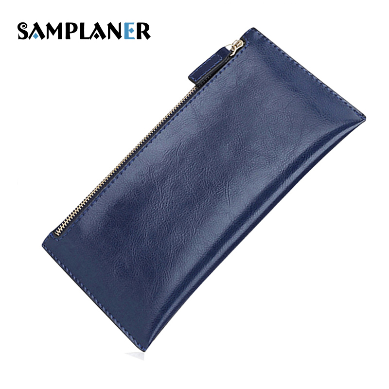 Samplaner Genuine Leather Slim Women Wallets Double Zipper Clutch Bag Ladies Long Wallet Card Holders Purses