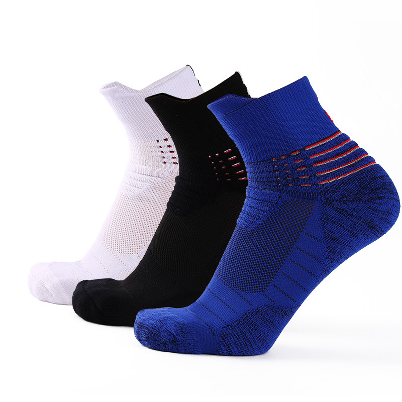 3 Pairs High Quality Basketball Men Socks Fashion Outdoor Leisure Sports Breathable Shoes Non-slip Shock Absorption Male Socks