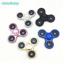 Tri-Spinner Fidget Toy Brushed plating aluminum alloy EDC Hand Spinner For Autism and Rotation Time Long Anti Stress Toys