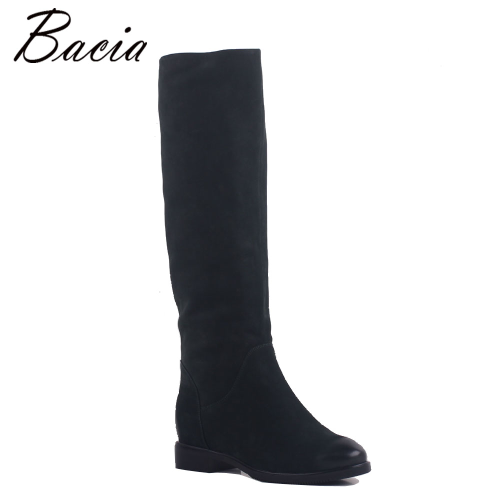 e2178069fe1dc9 Bacia Geen Cow Suede Boots Vintage Straight cylinder boots Warm Wool +  Velvet Winter Fashion Women Knee-High Boots MB026