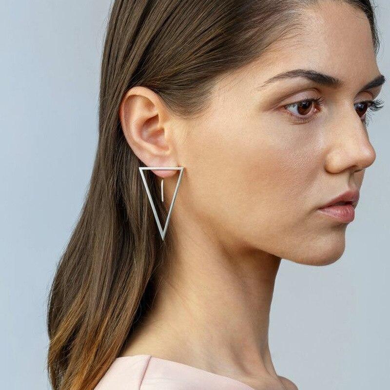 EK129 New Fashion Simple Stud Earrings Personality Trend Back Hanging Hollow Triangle Earring Wholesale Selling Women's Earrings