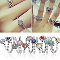 925 Sterling Silver Beaded Birthstone European Ring for Women Wedding Party Birthday Gift Fashion Jewellry
