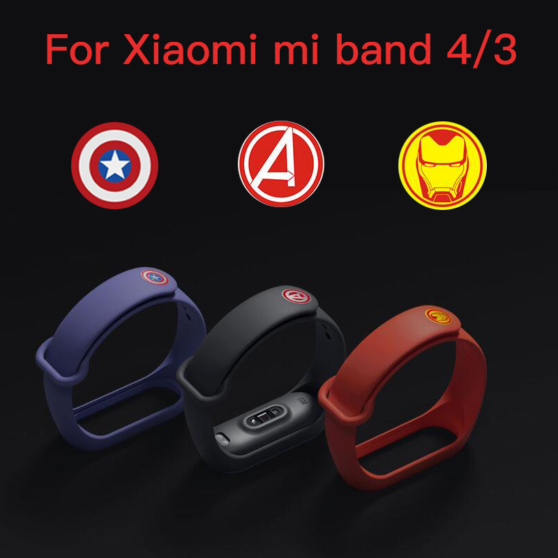 Mi Band 4 Strap Silicone Wrist Strap For Xiaomi Miband 4/3 Accessories Bracelet Miband 4 Strap Avengers Limited Edition Bracelet