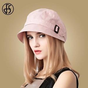 Image 1 - FS Fashion Cotton Sun Hat For Women Summer Outdoor Foldable Beach Hats Blue Pink Dark Gray Wide Brim Casual Visor Caps Femme