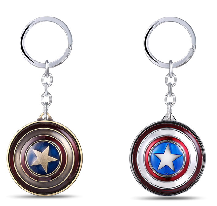 MS JEWELS Keychains The Avengers Captain America Rotate Shield Key Chain Metal Key Rings Chaveiro 2 Colors Nice Gift