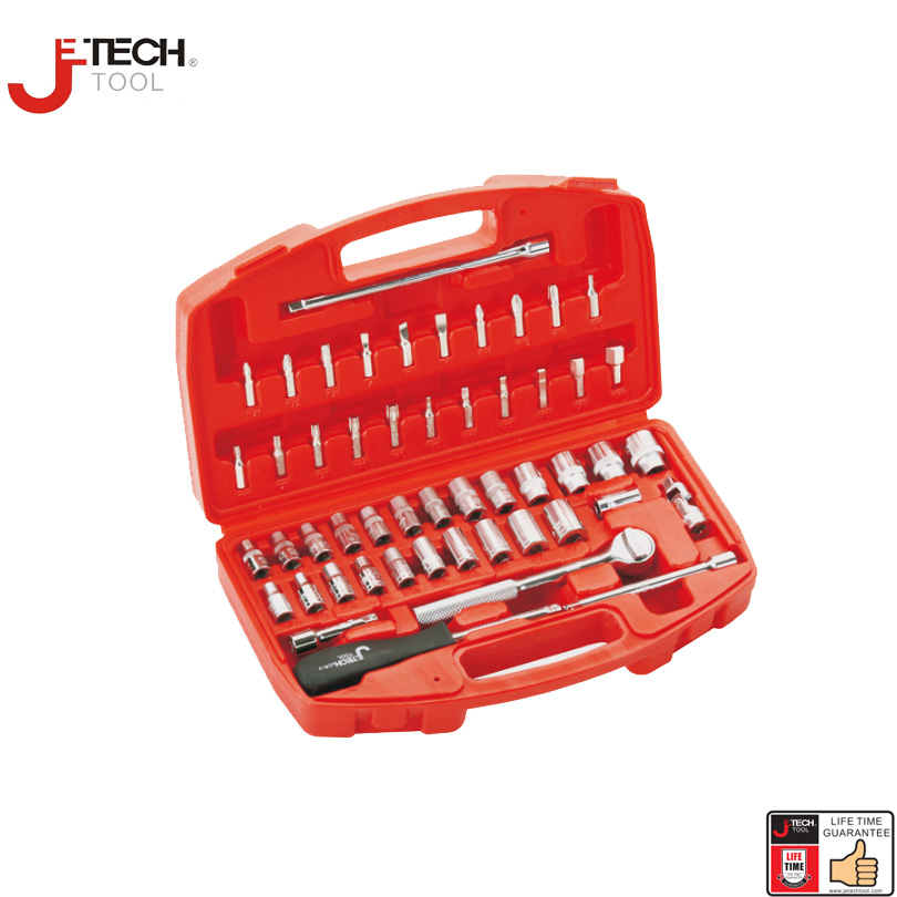 Jetech 51pcs 1/4 in. drive metric inch ratchet spanner set with socket bit driver joint combination  6-point garage tools kit jetech 15pcs 1 2 dr metric socket wrench set with ratchet extention bar 5 inch kit ferramenta car tool sets lifetime guarantee