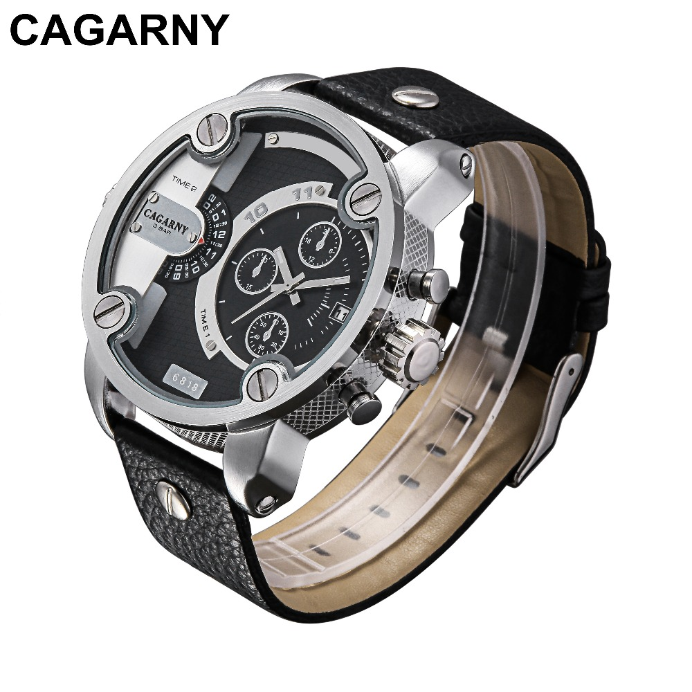 CAGARNY Men Watch Multi Movt Numbers Strips Hours Marks Big Dial Leather Band Men Quartz Military Wristwatch Silver Dial Case oulm men watch multi movt numbers straps hours marks big dial full steel band men quartz military wristwatch relogio masculino
