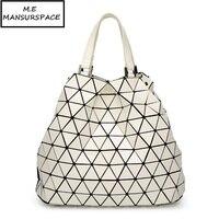 MANSURSPACE Hot Sale bao Bag Geometric Folding Luminous bucket bag Fashion Casual Women Tote Top Handle Bags High Quality