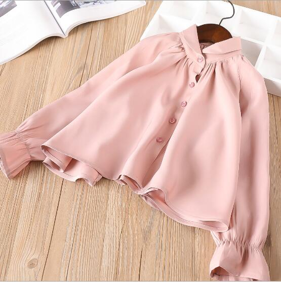 Girls Blouse 2018 Spring Little Girls Spring Clothes Cotton Kids Shirts Long Sleeve Girl Shirts High-grade Princess Clothing