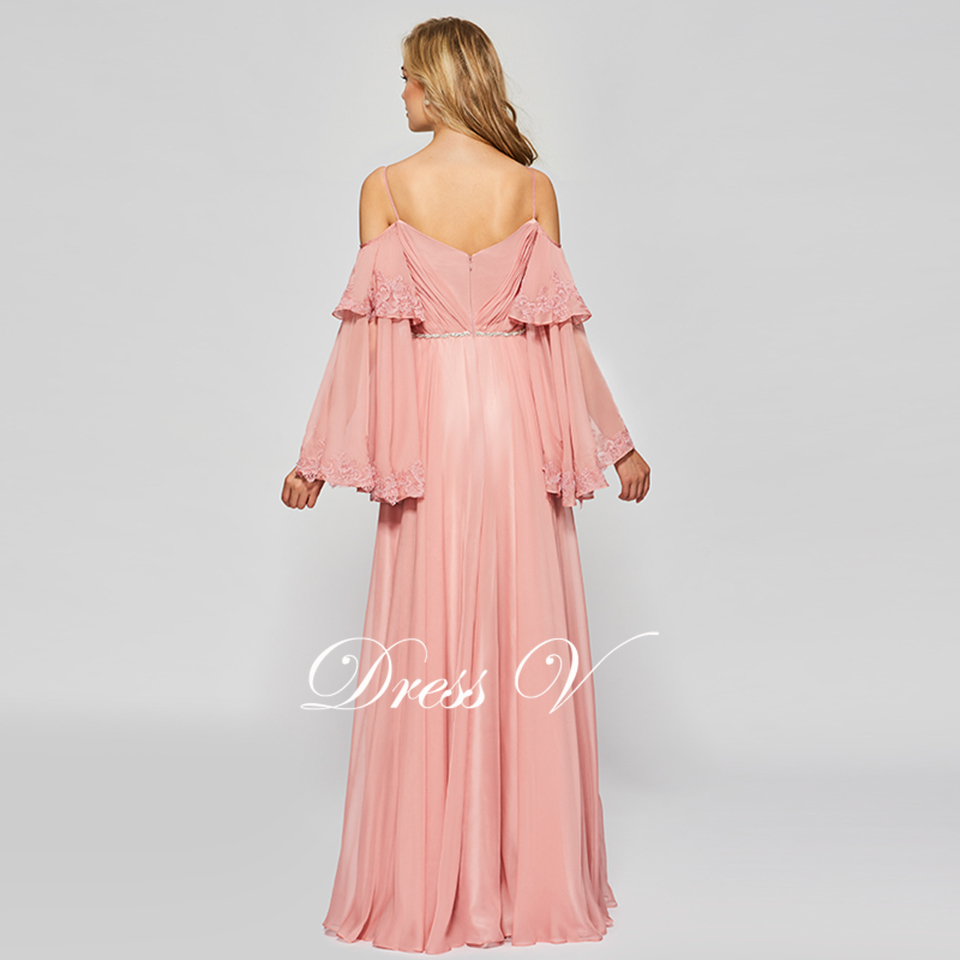 Dressv elegante Rosa vestido largo manga larga simple a line ...