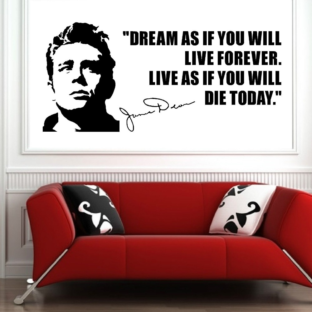 online buy wholesale removable wall stickers usa from china  - james dean usa actor 's quote dream as if you vinyl wall art stickerdecal removable