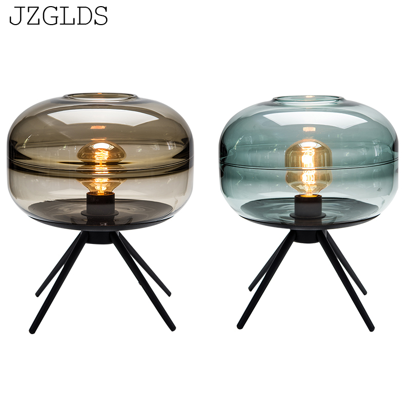 JZGLDS American modern Desk Lamps minimalist creative Nordic living room bedroom decorative art headlight glass lamp table lamp