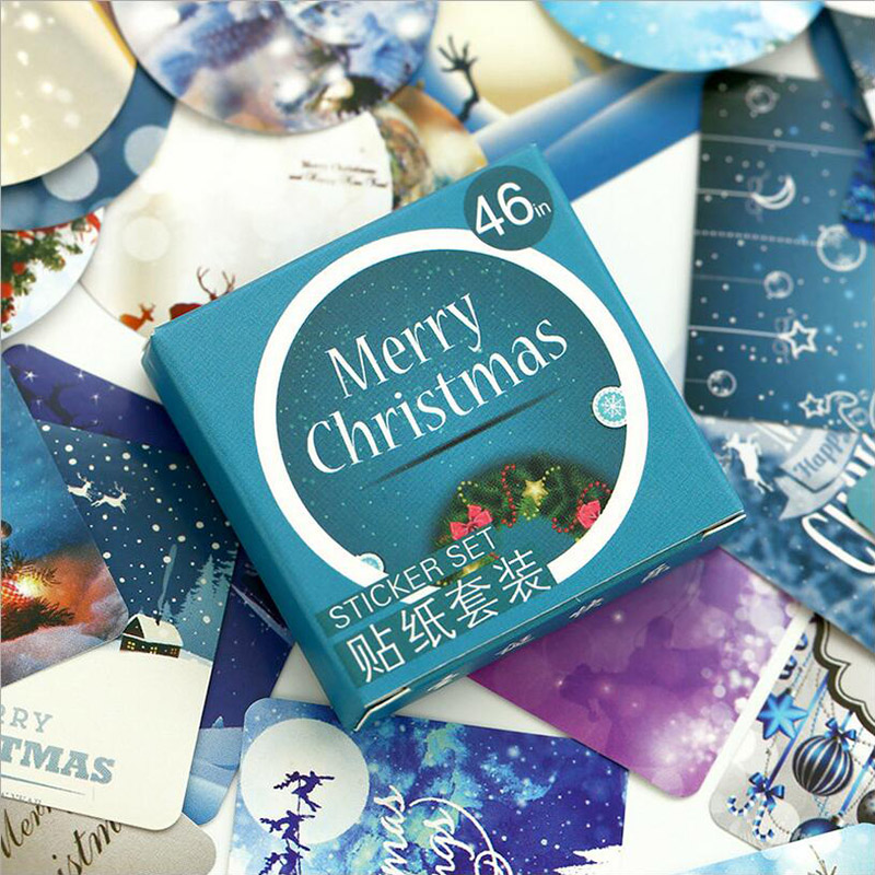 46 Pcs/ Box Merry Christmas Mini Paper Sticker Decoration DIY Diary Scrapbooking Seal Sticker Kawaii Stationery