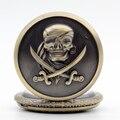 Бронзовый Кварцевые Карманные Часы Пираты Карибского моря Ностальгические Ретро Ожерелье Цепь Подарки Мужчины Женщины Regarder P229
