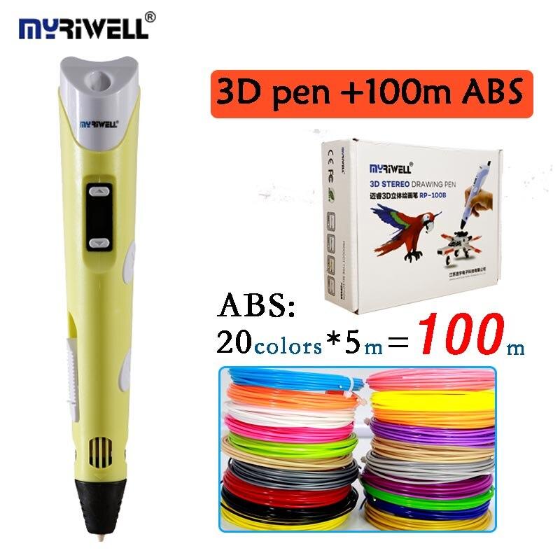 Original myriwell 3D pen RP 100B add 20colors 100meter ABS LCD display kids diy drawing pen
