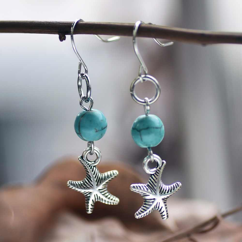 SONGDA Hot Sale New Style Tropical Starfish Earrings for Women Vintage Graceful Lady Wedding Long Earrings Summer Beach Brincos